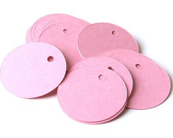 100 Blank Tags in BLOSSOM (pink) Cardstock . Round with Holes . 1.25 inch