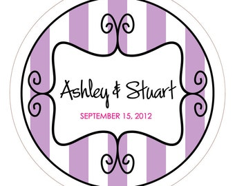 Curly Frame with Stripes Personalized Wedding Stickers, Jar Labels or Tags