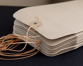 "10 String & Button Envelopes . Number 10 Size (4 1/8"" x 9 1/2"") in Paper Bag"