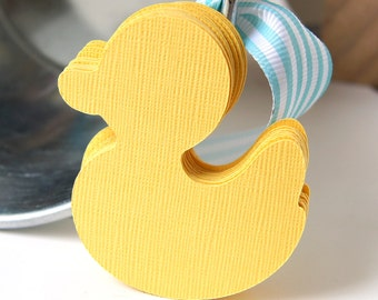 20 Die Cut Duck Tag Embellishments in Lemon Drop (yellow) . 2 x 2.25 inches