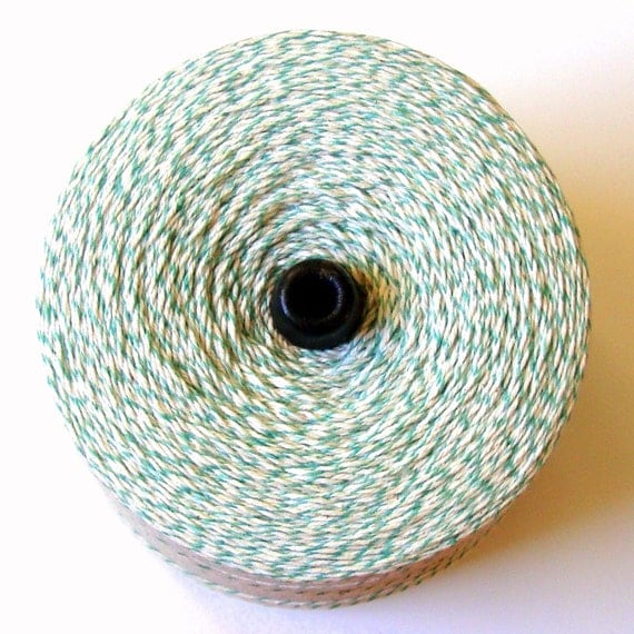 Lime Green and White Bakers Twine . 10 yards