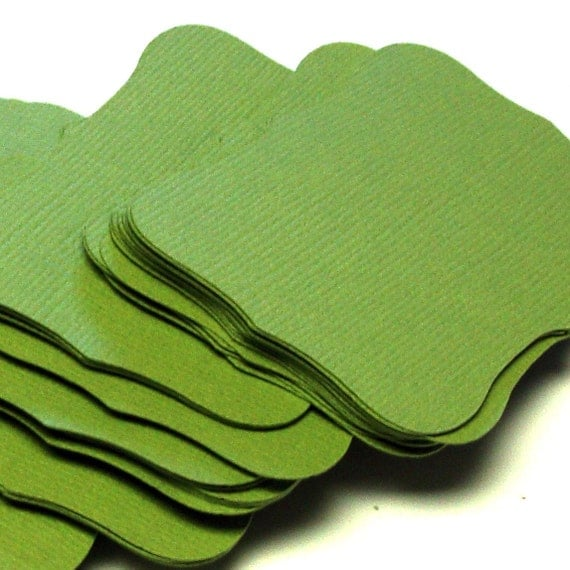 24 Large Cardstock Top Notes . Rectangle Scroll PARAKEET GREEN Journaling Tags or Escort Cards . 4.5 x 2.5