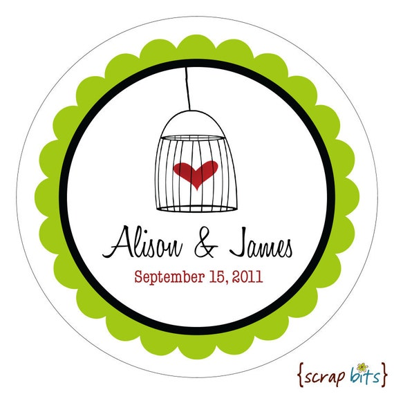 Birdcage Heart . Personalized Wedding Stickers, Labels or Envelope Seals