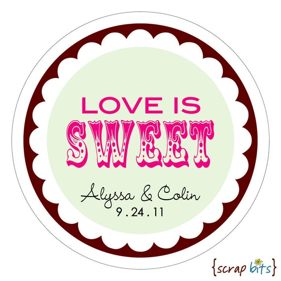 Love is Sweet circus Personalized Wedding Stickers Labels