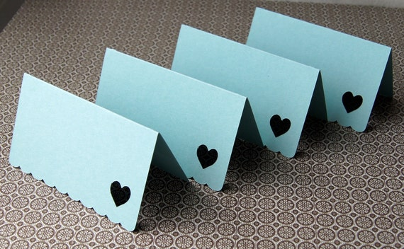 Open Heart Mini Notes . Folded Cards with Scallop Edge in Pool (blue) . Set of 8 for use as Escort Cards, Gift Tags or Place Cards
