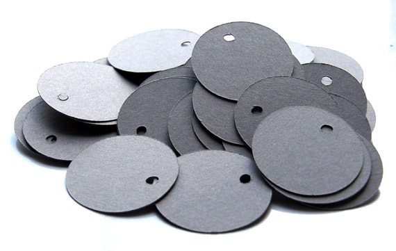 100 Small Circle Tags, Gravel Grey Tags, Price Tags . 1.25 inch diameter
