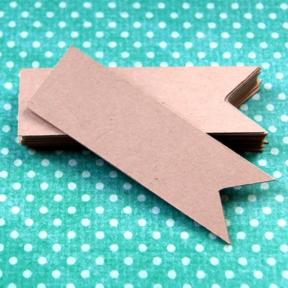 25 Flag Pennants in KRAFT Cardstock for DIY Scrapbooking, Favor Tags, Mini Banners, Cupcake Toppers . 1x3