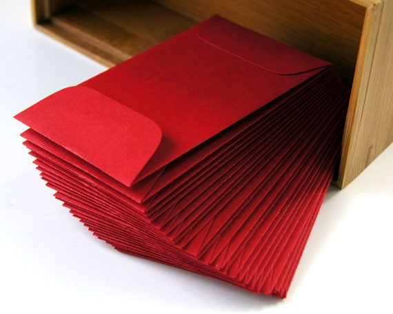25 Mini Paper Envelopes in Christmas RED . 2.25 x 3.75
