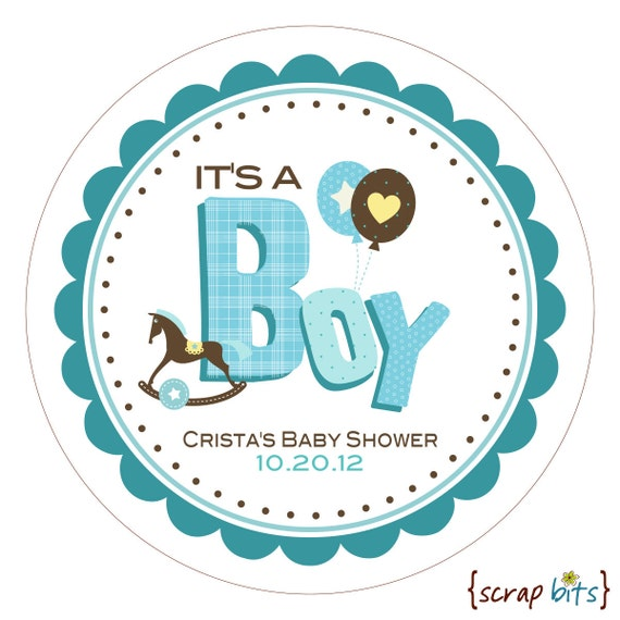 boy scrappy personalized baby shower stickers labels or tag