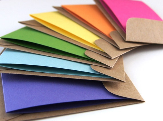 Rainbow Mini Note Cards or Gift Enclosures with KRAFT Envelopes . Set of 12