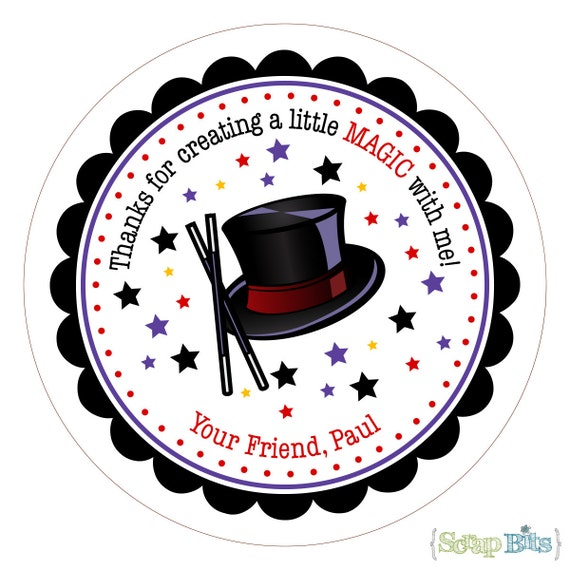 Magic Hat . Personalized Birthday Stickers, Labels or Tags