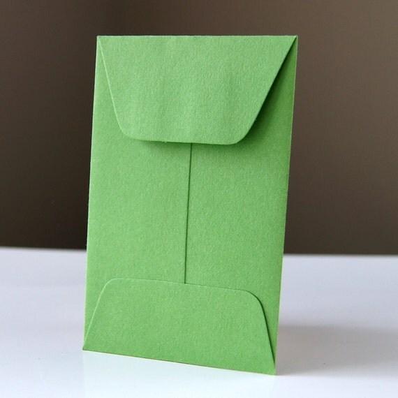 10 Open End Baby Envelopes in CLOVER (green) .  2.25 x 3.5