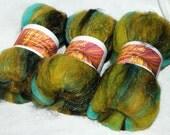 Hand carded  batts,spinning, felting fibre 25% Black Mohair,100g Merino, silk threads, gold Firestar