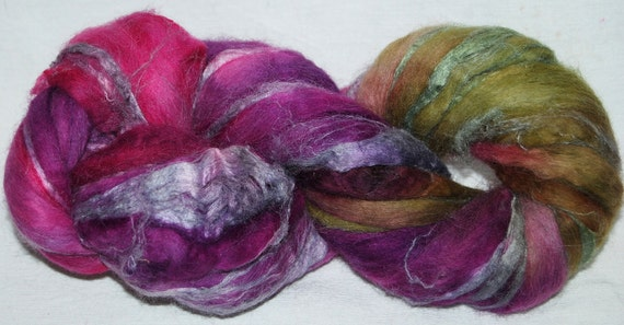 RESERVED for Mirjam  Baby Alpaca, Merino, Soybean blend,  hand painted combed top, roving fiber 103g