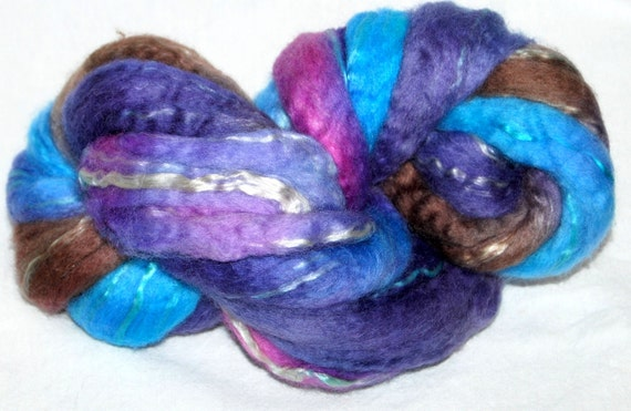 BFL SEACELL,  hand painted combed top, roving fiber 105g