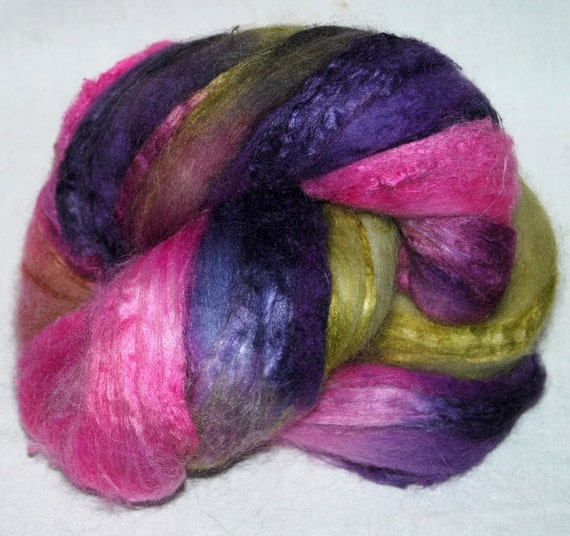 Baby Alpaca, Merino, Soybean blend,  hand painted combed top, roving fiber 107g