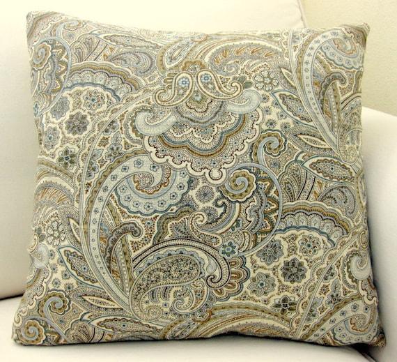 Spring Paisley Pillow-Spa Blue