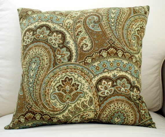 items similar to blue green and brown paisley pillow on etsy. Black Bedroom Furniture Sets. Home Design Ideas