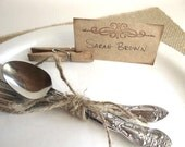 Rustic and Chic Place Cards - wedding, dinner party, entertaining - set of 12 clips and tags