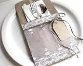 Silverware Pockets - white VINTAGE lace - set of 4 - wedding table, tea party, bridal shower, baby shower