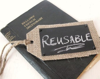 Burlap Chalk Tags - set of 4 - Christmas tag, wedding decor, gift tag, reusable tag, place card, Christmas gift
