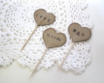 Cupcake Toppers - 12 kraft PERSONALIZED HEART cupcake picks - wedding decor, baby shower, Valentine, Birthday