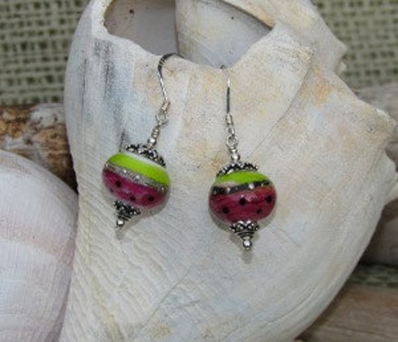 Lampwork Earrings Sterling Silver Pink and Green Watermelon Beads