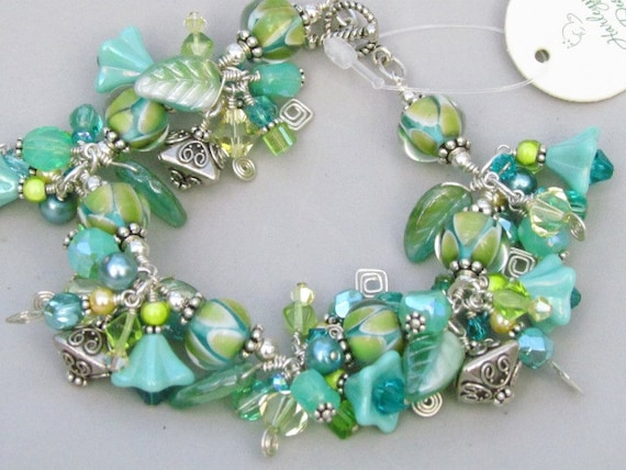 SALE %30 off, Lampwork beaded bracelet with sterling silver swarovski crystals handmade SRAJD, Tropical