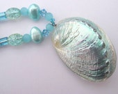 Aqua Abalone Shell Pendant on Necklace with Freshwater Pearls and Glass Beads
