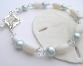 SMALL Bracelet - Seafoam blue freshwater pearls and Swarovski crystals with Sterling Silver Toggle Clasp
