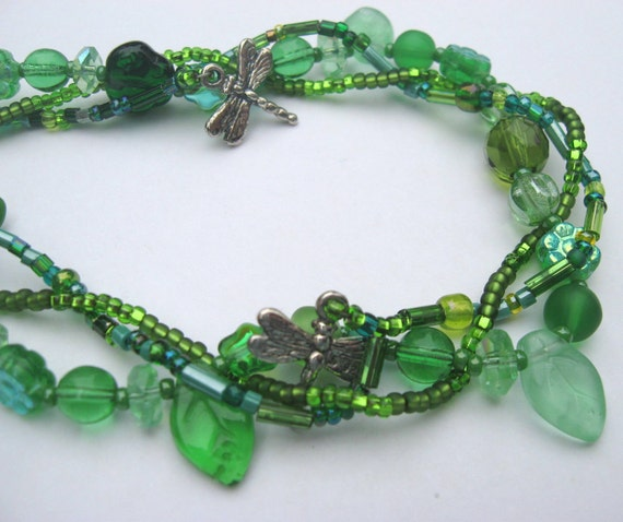Dragonfly Garden Necklace in Shades of Green