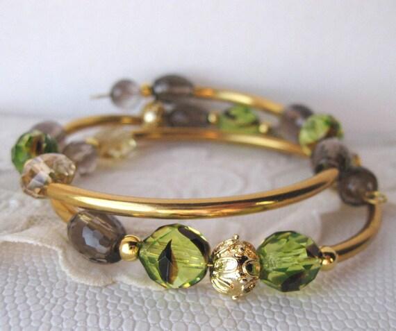 Beaded Memory Wire Bracelet - Jonquil Tortoise Glass Beads and Smoky Quartz