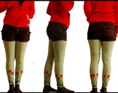 Tulip Screen Printed Thigh High Cotton Footless Stockings