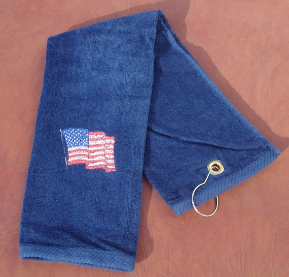 Golf Towel Velour Embroidered American Flag By SunNatGifts