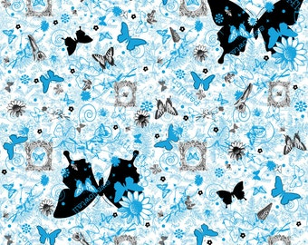 Natural Graffiti Turquoise - designer quilt fabric by Ellen Medlock (#906C)