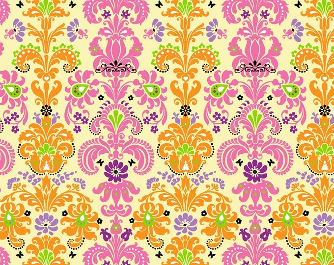 Enchanted Damask Fabric by Ellen Medlock - 1 Yard of Light Yellow, Orange, Pink, Lime Green Damask Print Cotton Fabric(#901A)