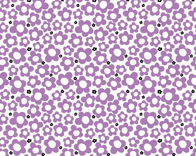 Hippie Flowers Lavender Fabric by Ellen Medlock - 1 Yard Purple Mini Print Daisy Flower Quilting Sewing Cotton Fabric (#905B)