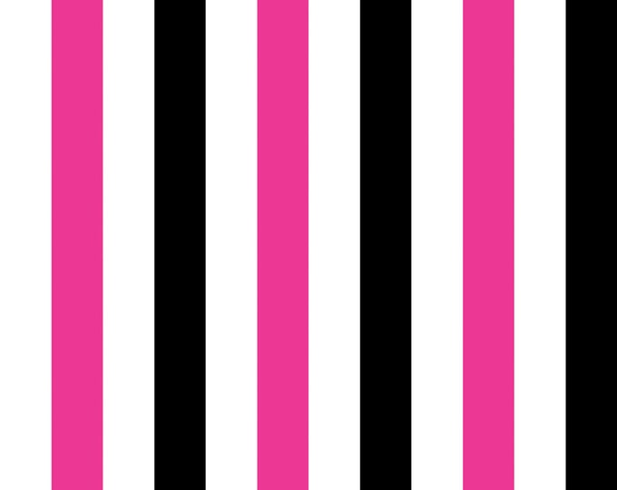 Gallery Stripe Fuchsia Fabric by Ellen Medlock - Hot Pink Black White Stripes Cotton Sewing Quilting Fabric  (#909B)