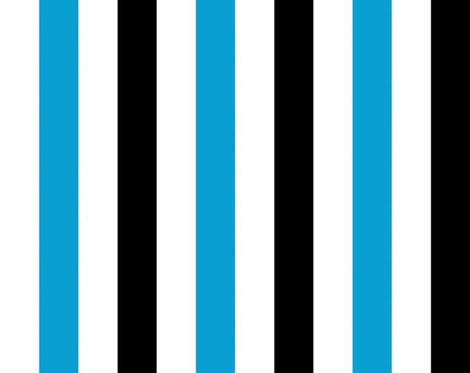 Gallery Stripe Turquoise Fabric by Ellen Medlock - 1 Yard of Black White Turquoise Stripe Cotton Sewing Quilting Fabric (#909C)