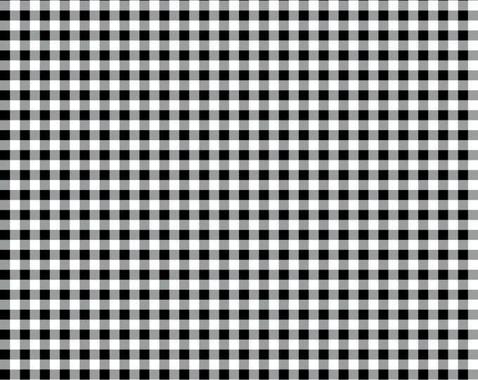 Gingham Check Black, Gray, White Fabric by Ellen Medlock - 1 Yard Quilting Sewing Cotton Fabric (#911M)
