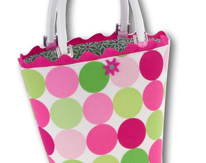 Spring Daisy Pink and Green Dots Small Bucket Bag