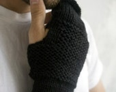 Men's Fingerless Wool Mittens - CHOOSE YOUR COLOR
