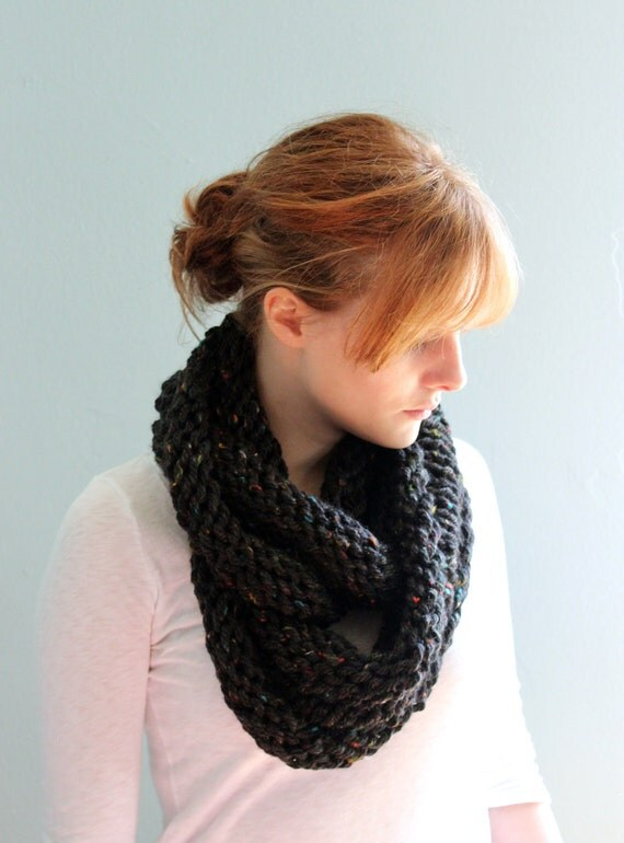SALE - Super Cozy Cowl - Circle Scarf - Infinity Scarf in Darkest Tweed - Ready to Ship