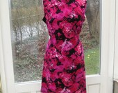 SALE 1960s Psychedelic Pink Magenta Black Dress L/XL