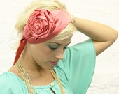 Pink Red Rosette Flower Headpiece / Belt
