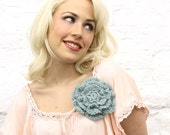 Pastel Blue Crocheted Flower Pin-READY TO SHIP - mojospastyle