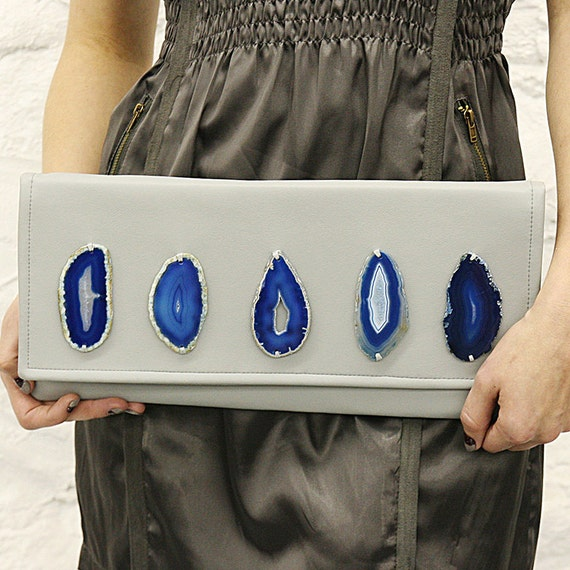 OOAK Gray Blue Agate Stones Pleather Clutch Ready to Ship