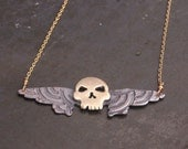 Bad-ass Brass Winged Skull Necklace