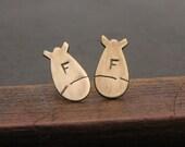 Tiny Brass F-Bomb Post Earrings