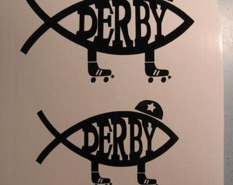 Roller Derby Jesus Fish Decal Sticker Car Window Helmet Laptop
